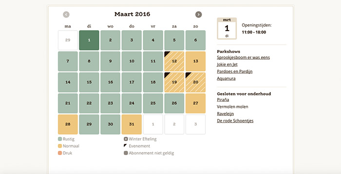 Efteling Lanceert Nieuwe Website Met Interactieve Kalender